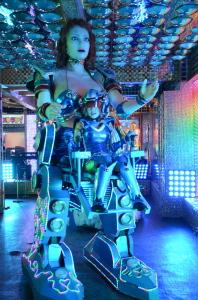 espectáculo con robot y luces en Kabukicho