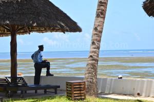 Un guardia vigila que los pobres no molesten a los turistas. Me siento muy incomodo