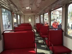 El interior del tren.